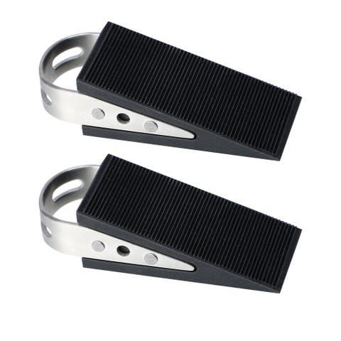 Stainless Steel Rubber Home Office Doorstop Stopper Catch Holder, Black, 2pcs - Black