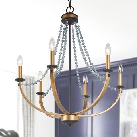 "Mid-century Modern Crystal Beads Chandelier 6-light Pendant for Dining/ Living Room - D25 * H28.3"""
