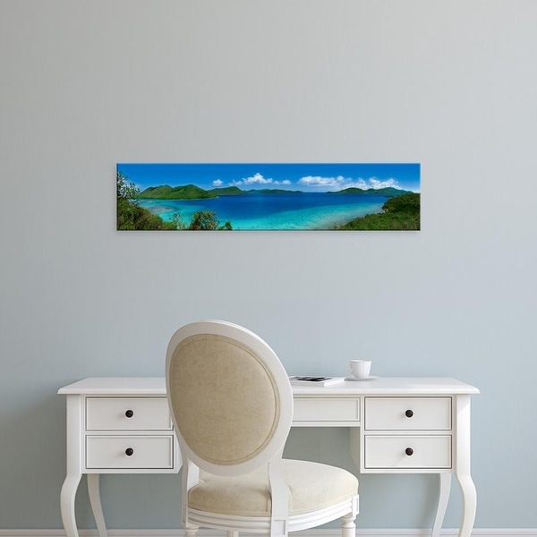 Easy Art Prints Panoramic Image 'Clouds over mountains, Leinster Bay, St. John, US Virgin Islands' Premium Canvas Art