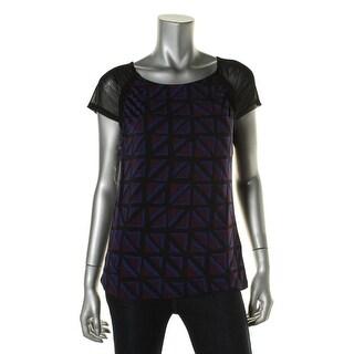Anne Klein Womens Pattern Cap Sleeves Blouse