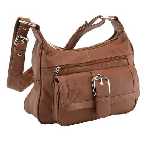 Womens Genuine Leather Shoulder Bag Tote Organizer Purse Hobo Handbag - One Size