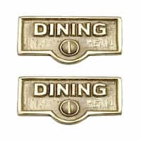 2 Switch Plate Tags DINING Name Signs Labels Lacquered Brass | Renovator's Supply