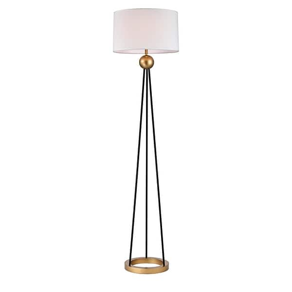 Shop Kathrin Matte Black Gold With White Laminated Fabric Drum Shade 1 Light Floor Lamp On Sale Overstock 31073033