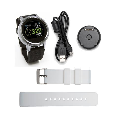 GolfBuddy GB9 WTX+ Smart Golf GPS Watch with Replacement Wristband (White)