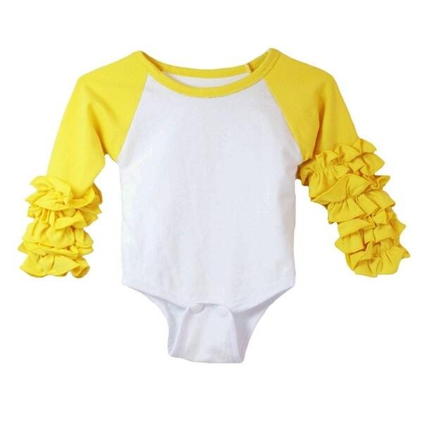 Baby Girls Yellow White Ruffle Cuff Crew Neck Long Sleeve Bodysuit