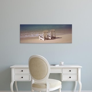 Easy Art Prints Panoramic Images's 'Adirondack chair on the beach, Bahamas' Premium Canvas Art