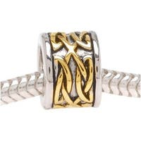 22K Gold Plated Celtic Knot Silver Tone Bead - European Style Large Hole (1)