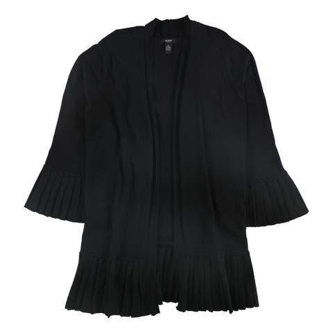 Alfani Womens Pleated Trim Cardigan Sweater, Black, 3X