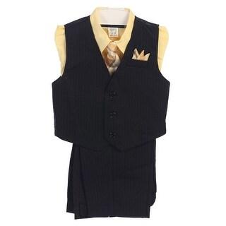 Angels Garment Boys Yellow 4 Piece Pin Striped Vest Set Suit 8-20