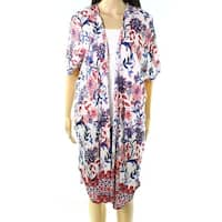 Angie White Women's Size Small S Floral-Print Cardigan Jacket