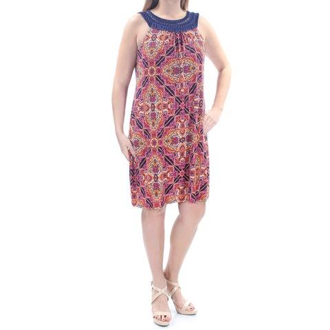 JESSICA HOWARD Womens Orange Ikat Sleeveless Jewel Neck Above The Knee Dress Size: 14