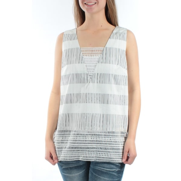 f3898213439e0b Shop RACHEL ROY Womens Black Striped Sleeveless Square Neck Top Size  M -  On Sale - Free Shipping On Orders Over  45 - Overstock - 21266125