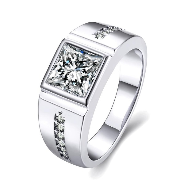 Crystal Main White Gold Crystal Center Ring