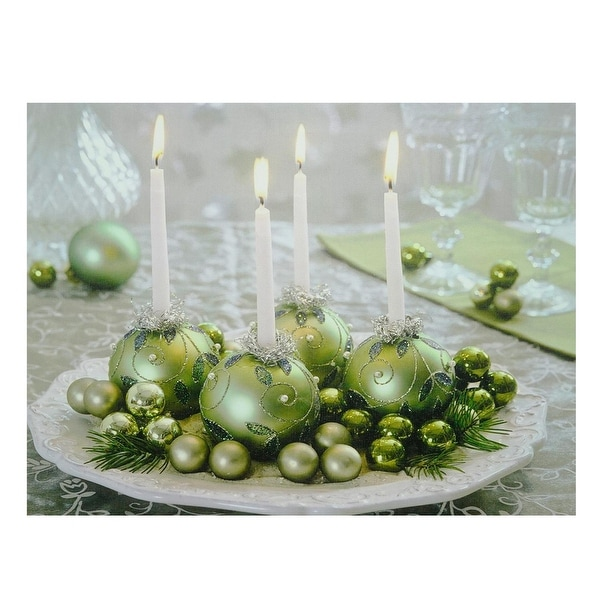 """LED Lighted Sparkling Ornament Centerpiece Christmas Canvas Wall Art 11.75"""" x 15.75"""" - green"""