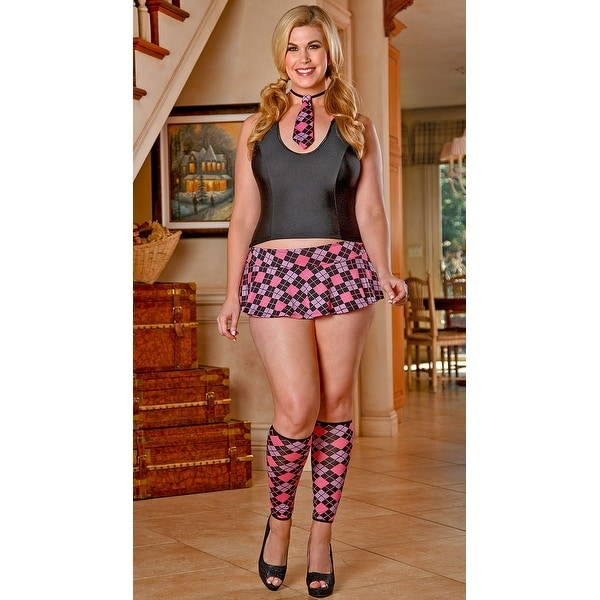 ba2f1e1b70c Shop Plus Size Pink Plaid School Girl Lingerie Costume - Queen - Free  Shipping Today - Overstock - 17953451