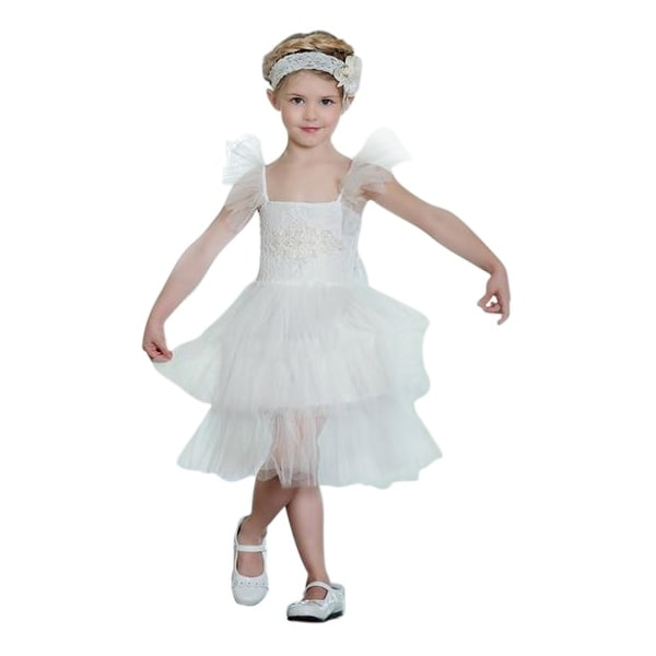 Think Pink Bows Baby Girls Off-White Ruffle Tiered Mia Flower Girl Dress 1Y