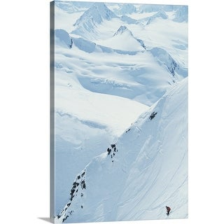 """Snowboarding, Chugach Mountains, Alaska, USA, elevated view"" Canvas Wall Art"