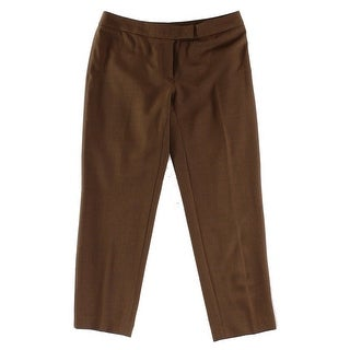 Anne Klein NEW Brown Women's Size 12 Tab-Front Ankle Slim Dress Pants