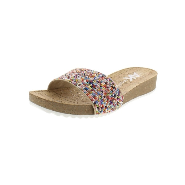 8e1653fd25d1 Shop Anne Klein Sport Womens Qtee Wedge Sandals Beaded Slide - Free ...