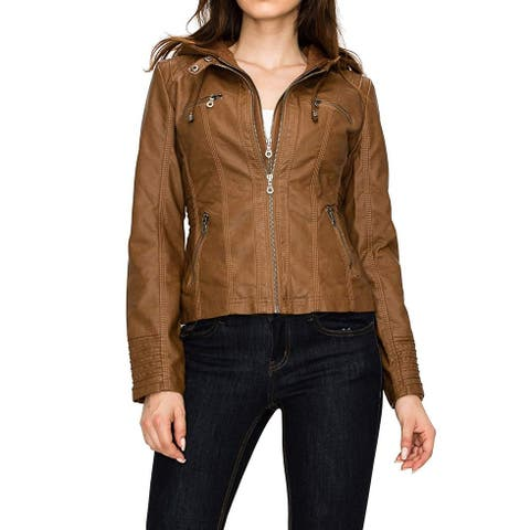 Lock and Love Women's Jacket Brown Size Small S Removable Hooded