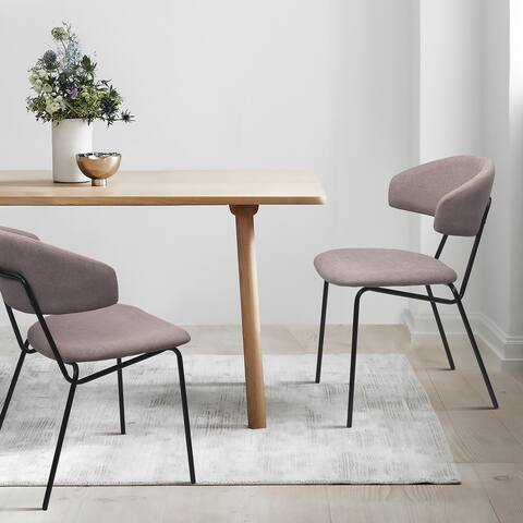 Eartha Modern Dining Chair Upholstered Seat Matte Black Metal Legs for Kithchen,Living Room and Dining Room (Set of 2)