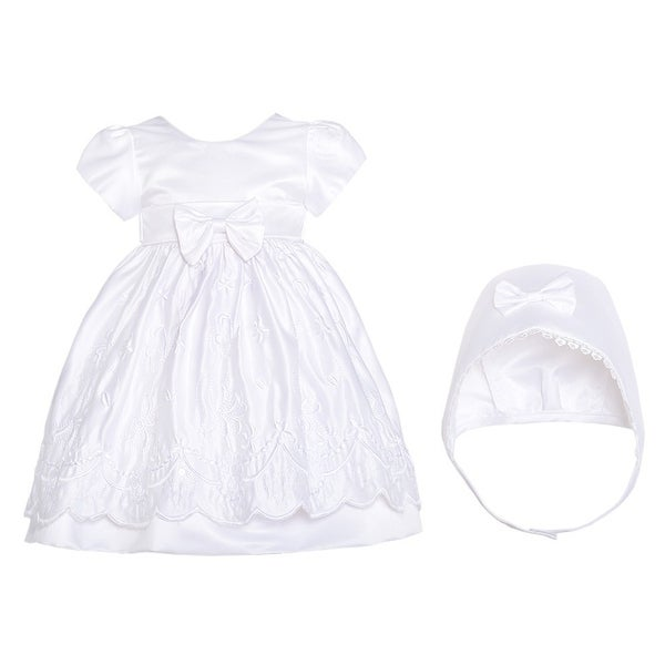 White Satin Flower Baptism Christening Gown Hat Set Baby Girls 3M-12M - 6 months