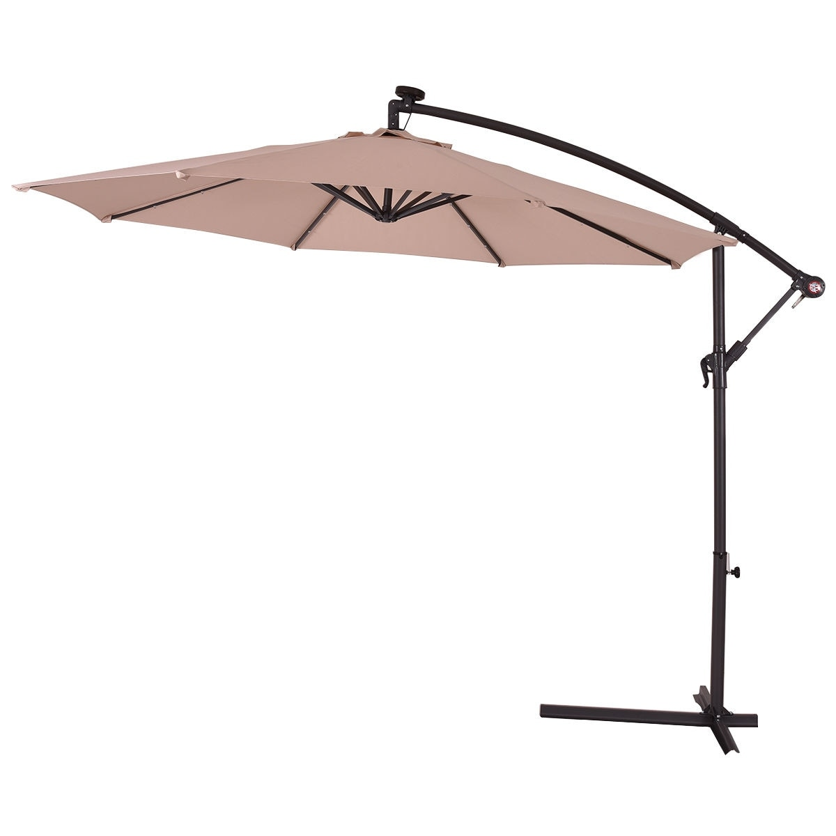 efa4837bea753 Shop Costway 10' Hanging Solar LED Umbrella Patio Sun Shade Offset Market W/Base  Beige - On Sale - Free Shipping Today - Overstock - 15801775