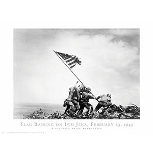 ''Flag Raising on Iwo Jima, February 23, 1945'' by Joe Rosenthal Americana Art Print (24 x 32 in.)