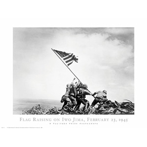 ''Flag Raising on Iwo Jima, February 23, 1945'' by Joe Rosenthal Military Art Print (24 x 32 in.)