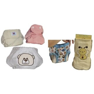 6 Organic Bamboo One Size Diapers & 6 Bamboo Inserts Princess Girl