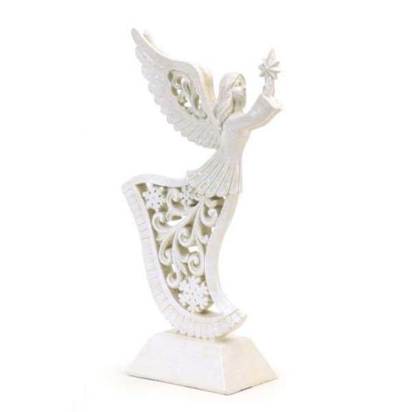"""13.5"""" Frosted Religious Inspirational Filigree Angel Christmas Figure with Star"""