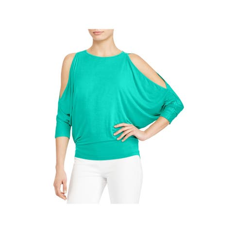 RALPH LAUREN Womens Turquoise Dolman Sleeve Jewel Neck Top Size XL