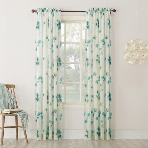 No. 918 Kiki Floral Crushed Voile Sheer Rod Pocket Curtain Panel