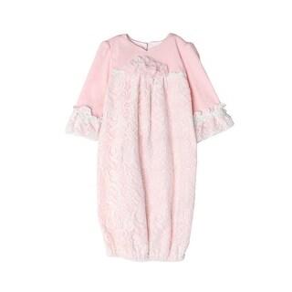 Isobella & Chloe Baby Girls Light Pink Sweet Pea Lace Layette Sack