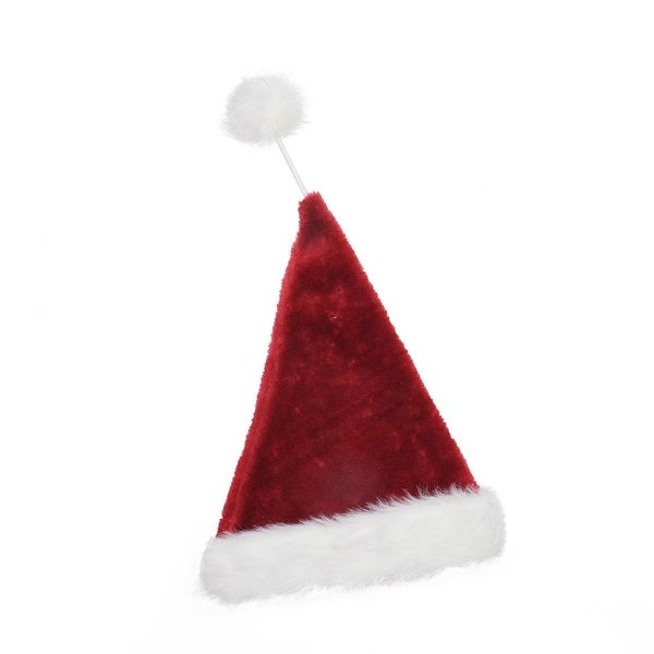 "21"" Whimsical Extra Soft Tethered Pom Pom Santa Claus Christmas Hat - RED"