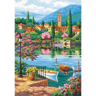 """Village Lake Afternoon - Paint Works Paint By Number Kit 14""""X20"""""""