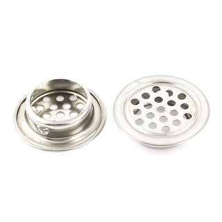 Unique Bargains 2 x Silver Tone Stainless Steel Cabinet Air Vent Louver Mesh Hole 25mm 1inch