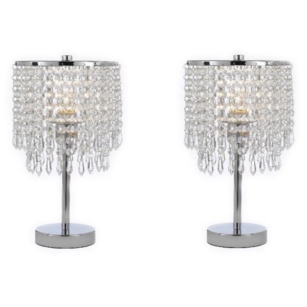 Chrome Round Crystal Bedroom Desk Lamp Table Bedside Set Of 2 Candelabra Free Shipping Today 22160747