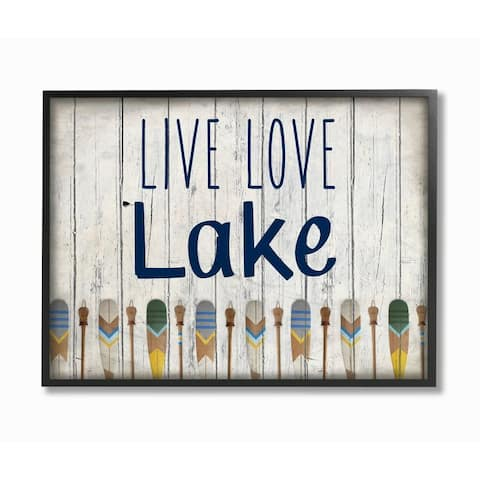 Stupell Industries Live Love Lake Phrase Boating Blue Yellow Paddles Word Design Framed Wall Art