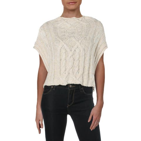 Free People Womens Sweater Vest Sleeveless Cable Knit - L