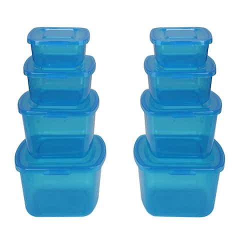 Set of 8 Nesting Food Storage Containers with Attached Lids - N/A
