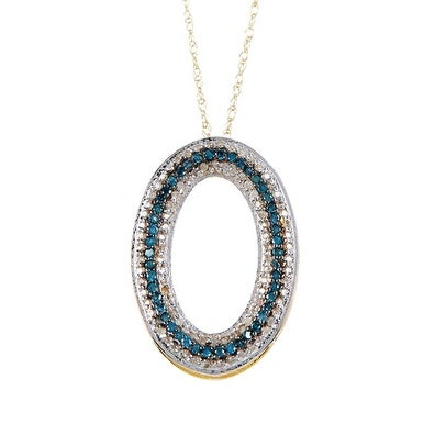 14K Gold White & Blue Diamond Oval Shape Pendant with Chain