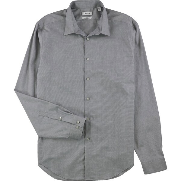 "Calvin Klein Mens Non-Iron Button Up Dress Shirt, grey, 17"" Neck 36""-37"" Sleeve - 17"" Neck 36""-37"" Sleeve. Opens flyout."