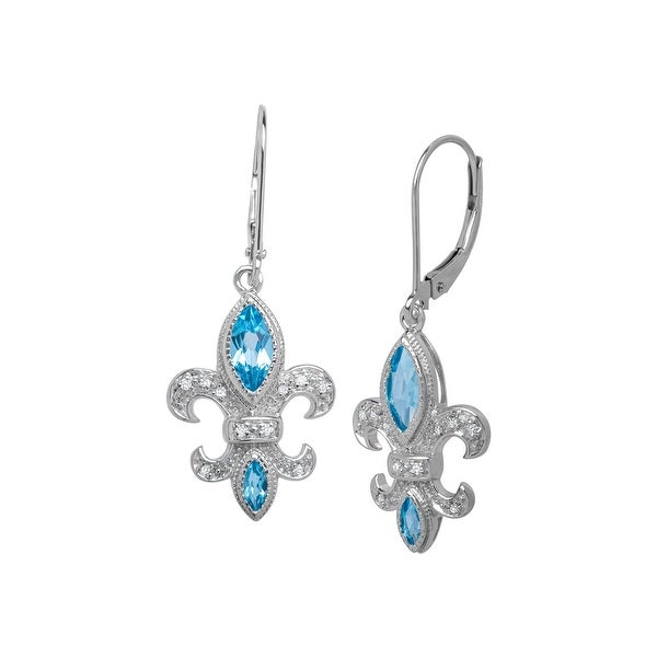 1 1/10 ct Fleur-de-Lis Topaz Drop Earrings with Diamonds in 14K White Gold - Blue