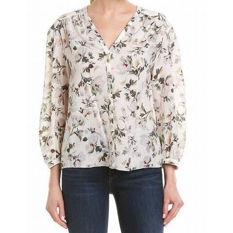 Rebecca Taylor Women's Top Blouse White Size 6 Floral Print Silk
