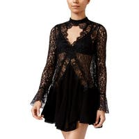 Free People Womens Babydoll Dress Lace Keyhole