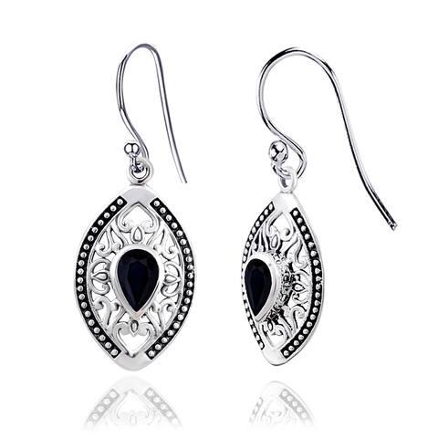 Blue Topaz, Citrine, Garnet, Sapphire Sterling Silver Pear Dangle Earrings by Orchid Jewelry