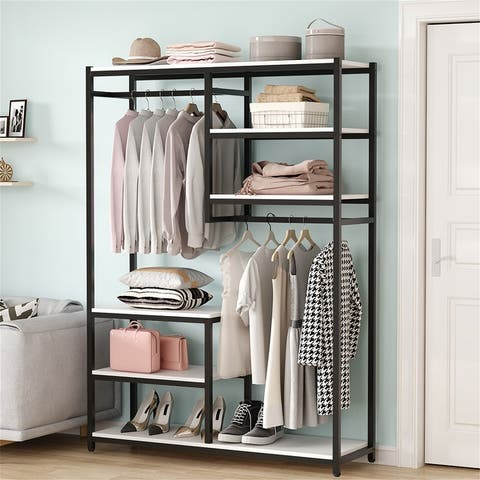 Double Hanging Rod Clothes Organizer with Storage Shelves