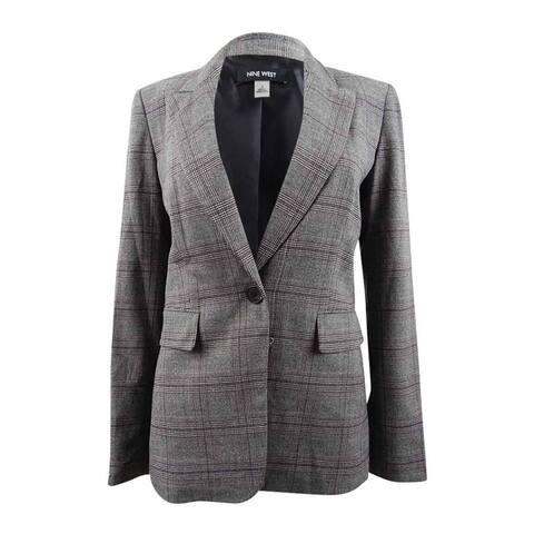 Nine West Women's One-Button Plaid Jacket - Black/Porto Multi