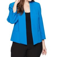 Kasper Blue Womens Size 24W Plus Stretch Crepe Flyaway Jacket